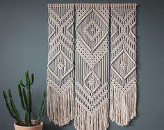 Tenture murale macramé > TRIO > 100 % coton cordon en Ecru naturel avec du bambou