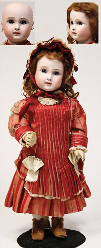 STEINER French Bebe, biscuit porcelain socket head, fix inset blue Paperweight eyes, almond-shaped, closed mouth, pierced ears, chip at left ear, marked Steiner Paris A15, early French jointed body with fix wrists, 57 cm, nice bright porcelain, dress is made of old silk, partially with some worn places, faded, otherwise good