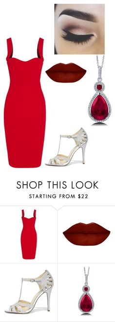 """Pretty red+silver"" by jessie-greynolds on Polyvore featuring Victoria Beckham, Betsey Johnson and BERRICLE"
