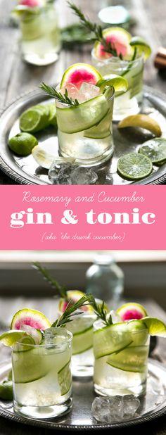 "Easy Cucumber, Rosemary, and Watermelon Radish Gin & Tonic (aka ""The Drunk Cucumber) via @theforkedspoon #cocktail #gin #ginandtonic via @theforkedspoon"