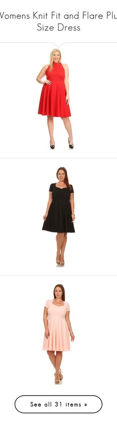"""""""Womens Knit Fit and Flare Plus Size Dress"""" by simlu-clothing on Polyvore"""