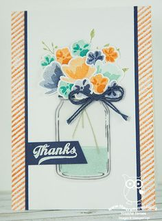 Blue Jar of Thanks Card (The Crafty Owl's Blog)