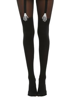 Blackhearts Skeleton Hands Black Faux Thigh High Tights, BLACK, $13.52