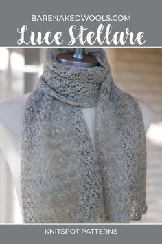 This semi-sheer scarf sparkles with light due to a large proportion of negative-to-positive space. A concentration of decreases in some rows pulls the corresponding eyelets wide open, allowing the illumination of spidery star shapes with diamond outlines. The pattern is further enhanced by using a yarn which has some sheen or luster fiber content; this project is a good candidate for the addition of beads.