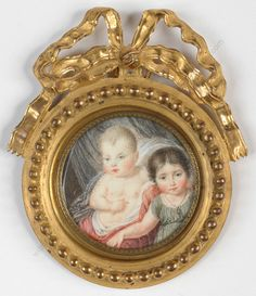"""""""Little brother and sister"""", fine French miniature in neoclassical ormolu frame"""