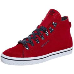 adidas Originals HONEY HOOK Hightop trainers ($43) ❤ liked on Polyvore featuring shoes, sneakers, other shoes, red, red hi top sneakers, leather sneakers, adidas originals high tops, leather moccasins and adidas originals sneakers