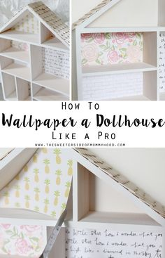"If you've got a dollhouse makeover in the works or are planning one for the holidays, you are probably attempting to wallpaper the little rooms. Am I right?! I hope so because ""wallpaper"" inside a dol"