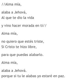 Alma mia alaba a Jehova