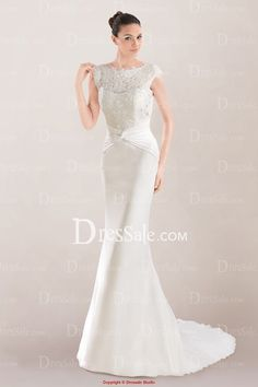 Gorgeous Sheath Bridal Gown Featuring Lace Overlay and Open Back