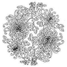 Patterns for painting plates (black and white). Discussion on LiveInternet - Russian Service Online Diaries Online Coloring Pages, Flower Coloring Pages, Mandala Coloring Pages, Coloring Book Pages, Chinese Patterns, Ribbon Art, Japanese Embroidery, Gif Animé, Watercolor Flowers