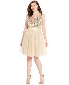 Trixxi Plus Size Sequined Babydoll Party Dress - Dresses - Plus Sizes - Macy's
