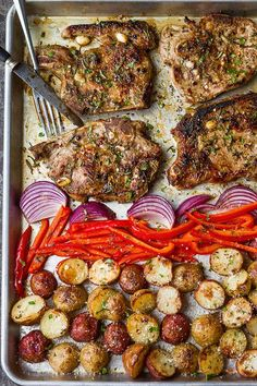 Sheet Pan Pork Chops in Oven — A quick and easy sheet pan dinner you can whip up in a breeze.