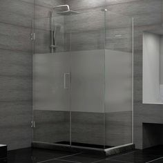 DreamLine Unidoor Plus 30.375 - 34.375 in. D x 42 in. W Frameless Hinged Shower Enclosure, Half Frosted Glass | Overstock.com Shopping - Big Discounts on DreamLine Shower Doors