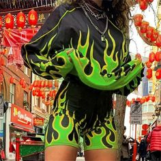 """Aesthetic Fire"" TOP/SHORT Club Outfits, Short Outfits, Rave Outfits, Green Two Piece, Two Piece Sets, Club Style, Aesthetic Clothes, Casual Tops, Retro"