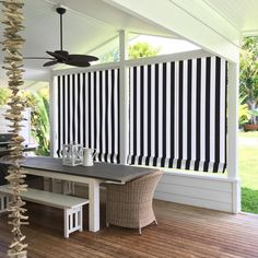 """Victoria Gregory on Instagram: """"Night time, daytime 😊 #awning #summer #australian #style #alfresco #blackandwhitehouse #beachhouse #loggia #verandah #bucketlist #stripes"""" Exterior Blinds, Patio Blinds, Outdoor Blinds, Outdoor Privacy, Outdoor Rooms, Outdoor Living, Outdoor Furniture Sets, Balcony Curtains, Porch Awning"""