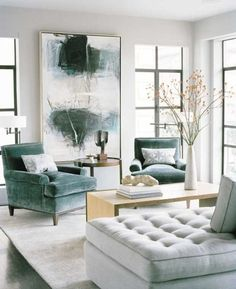 teal home accents Abstract expressionist painting in living room with beautiful teal velvet chairs. Art is one of our top interior design trends for use large artwork to add interest and personality to your home. Decoration Inspiration, Interior Design Inspiration, Home Interior Design, Design Ideas, Design Trends, Room Interior, Design Art, Design Projects, Gray Interior