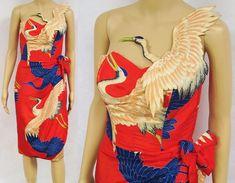 Vintage 40s Dress Hawaiian Novelty Crane Wrap Sarong Wiggle Red Sexy Unique Rare #GladysWilliamsHonolulu #WigglePencil #Cocktail