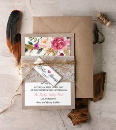 Watercolor Floral Rustic Wedding Invitations, Rustic Lace Wedding Invitations With Lined Envelope