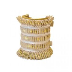 MLH Gold metallic ribbon cuff on pearlized leather : GARDE