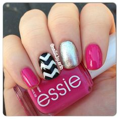 Pink chevron nails