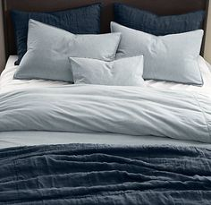 Vintage-Washed Chambray Bedding