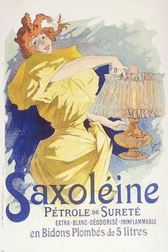 CLASSIC FRENCH SAXOLEINE PETROL AD poster woman with fancy lamp 24X36