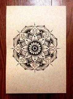 Mandala Designs, blackcoastillustration: Mandala - Ink on tan...