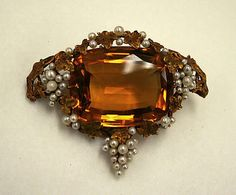 The Metropolitan Museum Collection, 19th Century Topaz, Seed Pearls in Gold Brooch.