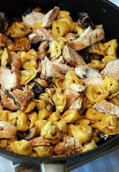 Chicken and mushroom tortellini - I added   spinach to this recipe and used more butter to make it a little saucy instead of   dry.