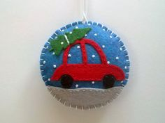 Felt Red Car with Christmas Tree Snowing ornament / Felt Christmas ornament / wool blend felt/ blue background This listing is for 1 ornament - blue