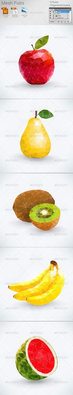 Mesh Fruits abstract, apple, banana, circle, concept, eat, food, fresh, fruit, geometric, icon, idea, kiwi, leaf, line, mesh, natural, pear, polygon, shape, triangle, vector, watermelon, wire, Mesh Fruits