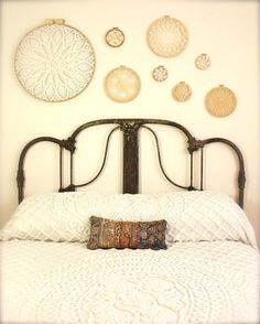 Love the doilies in the hoops as wall art! - instant collection of vintage crochet doilies in embroidery hoops. I like the old metal bed. Home Bedroom, Bedroom Decor, Bedrooms, Bedroom Wall, Design Bedroom, Bedroom Ideas, Doily Art, Crochet Dollies, Embroidery Hoop Art
