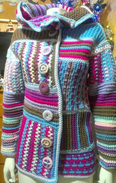 Cosy warm crochet patchwork hip length jacket.made to by mopepa