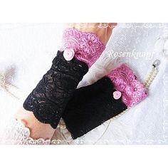 Elegante und feine Spitzenstulpen aus elastischer schwarzer Spitze mit angesetzer Spitze in Rosa und Walkröschen♥