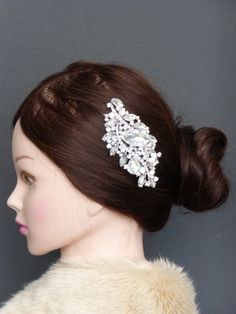 Bridal wedding Crystals Rhinestone Diamanite Leaves Hair Comb Accessory Jewelry