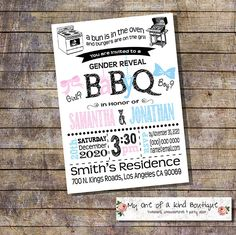 BBQ Gender Reveal invitation Baby Q gender reveal invite Couples shower invite blue pink Coed shower digital printable invitation 13924 by myooakboutique on Etsy