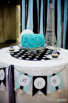 Rose cake at a Paris Party #paris #partycake