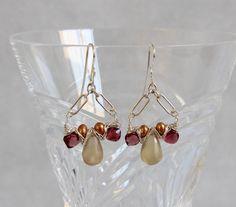 Golden Champagne Quartz Red Garnet Pearl Drop Earrings, Sterling Silver Wire Wrap Woven, Handmade Gemstone Bead Jewelry, January, Multi Gem by AdornmentsAndFrills on Etsy