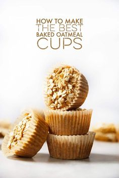These baked oatmeal cups are delicious, filling, and packed with good-for-you ingredients to get you through a busy morning! They are the perfect on-the-go/make ahead breakfast or snack! Plus, they are totally customizable! Start with the base recipe and add in your favorite add-ins!