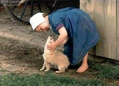 so cute..... nice moment......little Amish girl and her little dog.