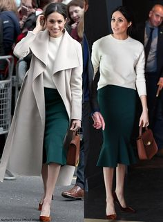 Meghan Markle 2019 Style Outfit with Lace-Bodiced Cape Dress Source by valentinafallabella clothes fashion classy Classy Outfits, Fall Outfits, Casual Outfits, Fashion Outfits, Womens Fashion, Dress Casual, Work Outfits, Fashion Clothes, Trendy Fashion