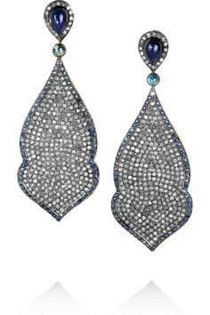 Artisan Diamond & Sapphire Earrings - I am not a fan of my September birthstone but I WOULD wear these!