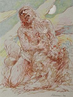 'Cain and Abel' by Peter Howson, mixed media, 30x23cm