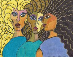 """""""spirit sistas"""" from inner goddess series. Limited edition numbered prints sold. No longer available https://www.etsy.com/shop/aSoulFullofArt"""