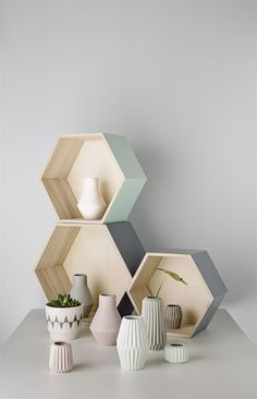 Bloomingville Hexagonal Wooden Storage Boxes ideal for staking and displaying lightweight decorative items in your home. Deco Pastel, Diy Home Decor, Room Decor, Wooden Storage Boxes, Interior Decorating, Interior Design, Home And Deco, House And Home Magazine, My Living Room