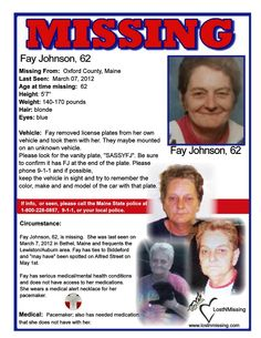 Fay Johnson, 62, MISSING since 3/7/2012 from Maine - Has Medical Needs