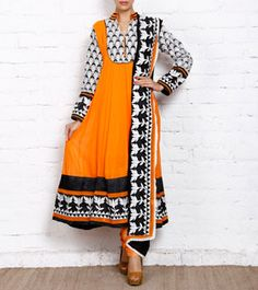 Orange Georgette Anarkali Suit with Thread Work