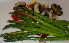 Roasted Asparagus with Red Peppers, Crimini Mushrooms, and Caramelized Onions.  Healthy, Vegan, Low Fat, Low Carb, Low G.I., Gluten-Free