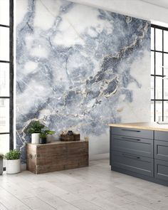 Glam up your kitchen with a bespoke marble mural. Made to fit your wall perfectly, our marble wallpapers are sure to create a statement wall! Shop this and more marble murals at Wallsauce.com