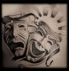 Black and Grey Wash Black and White LA Chicano Gangster Laugh Now Cry Later Masquerade Drama Masks Chest Tattoo Design Full Sleeve Tattoo Design, Sketch Tattoo Design, Latest Tattoo Design, Tattoo Designs Men, Design Tattoos, Theater Mask Tattoo, Yen Yang, Laugh Tattoo, Awareness Tattoo